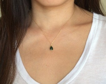 Tiny Gold Green Emerald Stone Teardrop Necklace