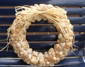 "Seashell wreath - 11"" - orange wreath - beach wreath - coastal decor - rustic decor"
