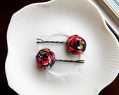 Set of 2 Red and Black Hair Accessories Women, Tiny Hair Pins, Small Hair Clips for Short Hair, Mini Floral Hairpins, Decorative Bobby Pins
