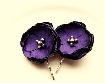 "2 Purple Hair Flowers for Wedding, Purple Bridal Flower Hair Pins, Lapis Royal Purple Silk Flower Bobby, 1.5"" with Pearl, Silver, Gold Beads"