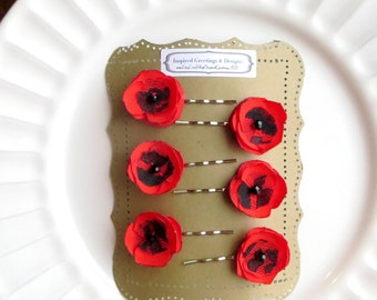 6 Small Red Poppy Flower Hair Pins for Wedding, Tiny Red Hair Flowers, Mini Red Hair Piece Bride, Poppies Red Hair Clips, Floral Bobby Pins