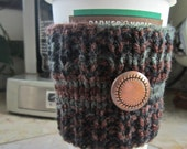 Coffee Cup Sleeve - Brown, Gray & Black Coffee Cozy - Knitted Coffee Cup Sleeve