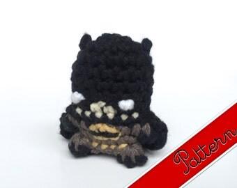 """PDF Pattern for Crocheted Batman Amigurumi Kawaii Keychain Miniature Doll """"Pod People"""""""