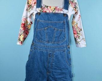 Vintage Bugle Boy Denim Overalls Shorts, One Piece Denim Hippie Dungaree Jumpsuit, Summer Country Fair Festival Denim Overalls S