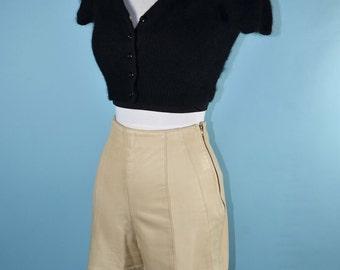 "Vintage Cream Leather High Waisted Minimalist Shorts/ Music Festival Hipster Rockabilly/ 24"" Waist Size 2"