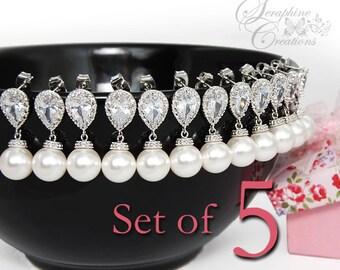SET OF 5 Bridesmaid Gifts Pearl Earrings Swarovski Cubic Zirconia Wedding Jewelry Teardrop Bridesmaid Gift Wedding Party Favors 5%OFF K034