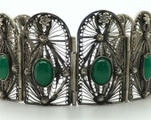 SALE WAS 165.00 NOW 85.00 Vintage Chrysoprase and Sterling Silver Filigree Cuff Bracelet