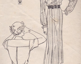 1930s Button Front Dress Pattern New York 193 Size 14 Bust 32