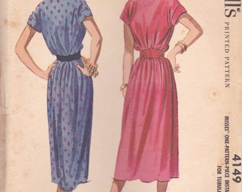 1950s Easy Summer Dress Pattern McCalls 4149 Size 12 Uncut