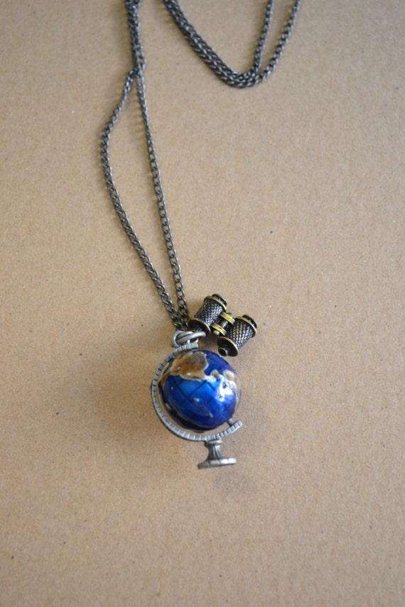 Travel the World Long Necklace. Earth. Globe. Wanderlust. Travel Necklace. Gift for Traveller. Women. Teen Girl. Binoculars. Explore