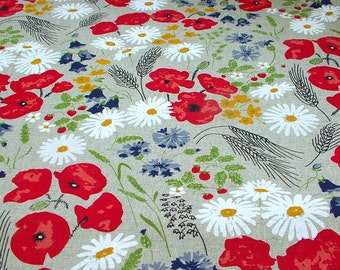 Poppy Meadow/Romantic Country Style/Poppy Tablecloth/Summer Curtains/Colorful Wildflowers/Canvas Linen Printed Fabric/All DIY Projects
