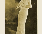 1930s Lace Dress with Matching Gauntlet Gloves - Crochet pattern PDF 1384
