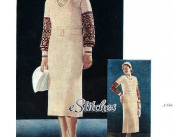 1930s Peasant Dress and Skirt and Blouse with Pattern on Sleeve - Knit pattern PDF 2604