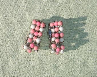 Pink & White Milk Glass Rhinestone Post Earrings