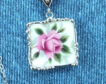 Necklace, Broken China Jewelry, Broken China Necklace, Square Pendant, Pink Rose China, Sterling Silver, Soldered Jewelry