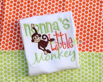 Little Monkey Shirt -Boys Embroidered Shirt - Mommy's Little Monkey - Daddy's Monkey - Boys Monkey  Shirt - Newborn Shirt - Jungle Shirt