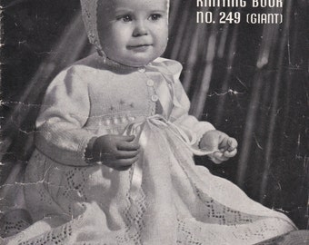 Patons Knitting Book Giant Baby Pattern No 249 - Vintage 1940's Knitting pattern, Jackets, Cardigans, Sweaters, Jumpers, Dresses, Bonnet