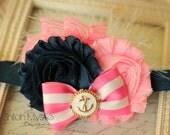 Pink and Navy Anchor Headband-Anchor headbands-Sailing and anchor headbands-Anchor outfits
