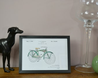 Framed Vintage 1939 Schwinn Bicycle Coloured Patent Art Print on Canvas