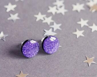 Glossy purple glitter stud earrings 15 mm, elegant jewelry, glitter earrings, purple studs, purple earrings, sparkle glitter ear posts