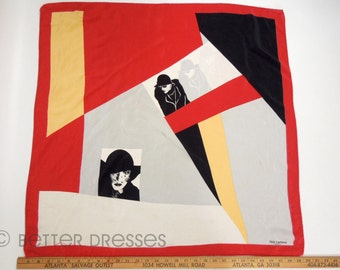 80s Ted Lapidus Silk Scarf With Nagel Women