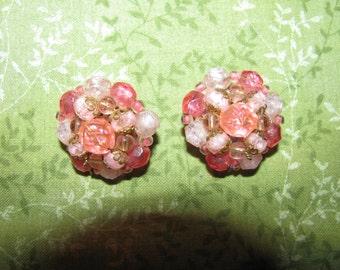 Vintage Gold Tone Germany Signed Pink Crystal Look Cluster Earrings