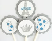 French Vintage Cupcake Toppers - Crown, Preggo Belly, Baby Snap Shirt, Amour, Eiffel Tower