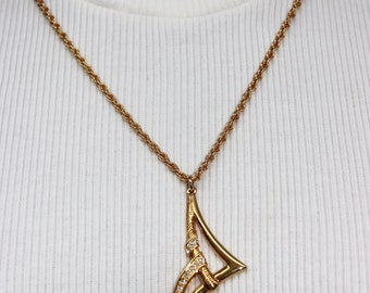 Gold and Crystal Abstract Pendant Necklace