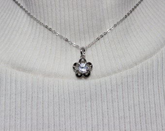 Rhodium Plated Crystal Floral Pendant Necklace