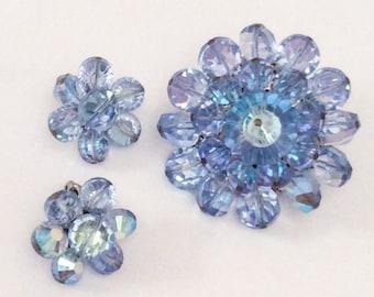 Vintage Jewelry Set, Blue Crystal Brooch with Earrings, 1960s, SUMMER SALE