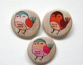 kawaii woodland bird buttons