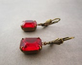 Bright Red Earrings Old Hollywood Ruby Glass Octagon Brass Leverback Classic Style For Women Rhinestone Jewelry Cocktail Party Earrings