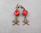 Skull Jewelry - Gothic Punk Pirate Earrings - Orange Fire Red - Halloween