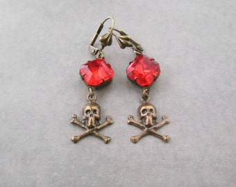 Skull Jewelry - Gothic Punk Pirate Earrings - Orange Fire Red - Halloween