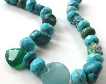 "Fun Turquoise Mix Beads ~ 8"" Strand"