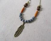 Tribal Pendant Necklace, Feather Necklace, Porcelain Necklace, Boho Necklace