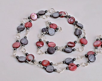 Long Silver Plated Copper Wire Link Necklace with Pink and Grey Shell Discs and Hemalyke