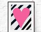 Heart Print - Poster - Modern Art  - Valentines Printable - Pink Heart Print - Home Decor - Wall Art Print - Nursery Art - Kids Decor
