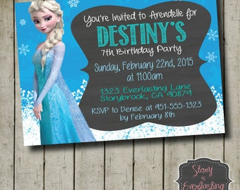 Frozen Elsa Birthday Invitation - Disney's Frozen - Queen Elsa - Digital File - DIY - Printable Invitation
