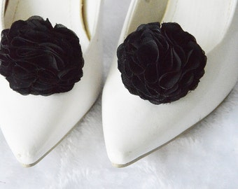 Black Flower Shoe Clips, Bridal Flower for Shoe, Shoe Clips, Chiffon Hair Clip, Bridesmaid, Shoe and Shoe Clips