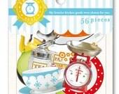 Kitchen goods Sticker Flakes - 56 pieces (1 pack) - Japan sticker set Kawaii Mind wave paper sticker die cut 74371
