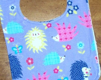 Hedgehog Baby Toddler Girl Bib - Ready to Ship