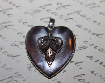 Mid Century Sterling and Gold Heart Pendant with Flowers and Leaves