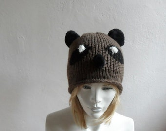 Panda Hat with Pompoms, Brown Hat, Unisex Hat, Panda Beanie, Winter Accessories