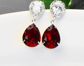 Red Earrings - Swarovski Earrings - Red Crystal Earrings - Bridesmaid Earrings Silver - Bridesmaid Jewelry - Swrovski Jewelry - Bridal