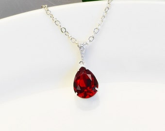 Red Necklace - Ruby Red Swarovski Crystal Pendant Necklace - Red Bridesmaid Necklace - Siam Crystal Teardrop Necklace - Bridal Jewelry