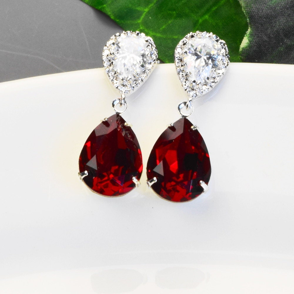 Red Earrings Silver Bridal Earrings Swarovski Crystal Teardrop