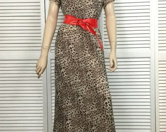 Vintage Silk Dress Animal Print  Size 6 Robbie Bee