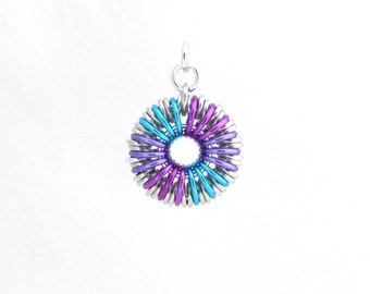 Chain Maille Pendant, Round Blue and Purple Multicolor Jump Ring Jewelry