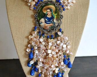 Fresh river pearls and lapis PORTRAIT DIAMONDS NECKLACE.